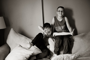 Trying to get two boys to sit still and pose for a photo is an impossibility. Courtesy of Jennifer Boggett.