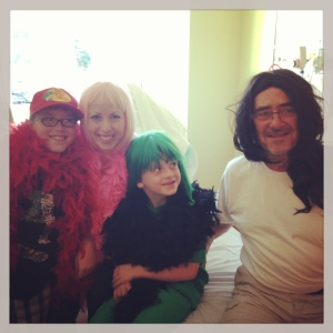 Me and my boys, and yes. My father, maybe a little unimpressed that he's wearing my glamour wig. Love.