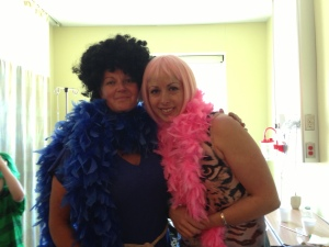 Tiffany and me - she rocks this wig at disco parties as well.