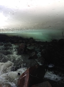 Under the ice cave. It won't last long. But we walked on it today, in 18 degree weather. It's stubborn.